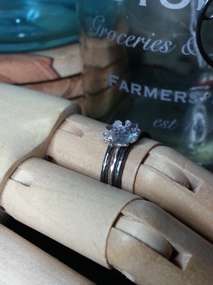 Blossom Ring and Textured ring stacked